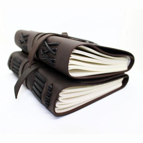 Кожаный блокнот формата A5 Comfy Strap Dark Brown в коробочке-5