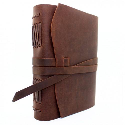 Кожаный блокнот А5 ручной работы Comfy Strap Brown
