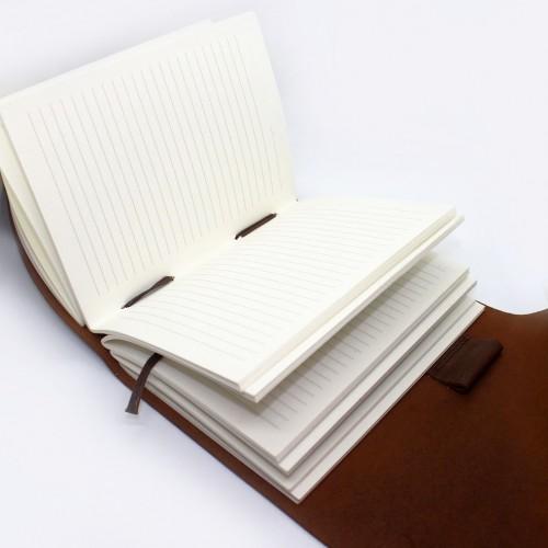 Кожаный блокнот формата А5 Comfy Strap Brown-3