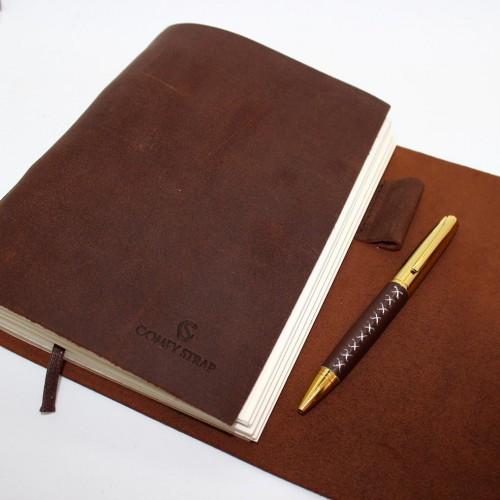 Кожаный блокнот-софтбук A5 Comfy Strap Brown с ручкой-2