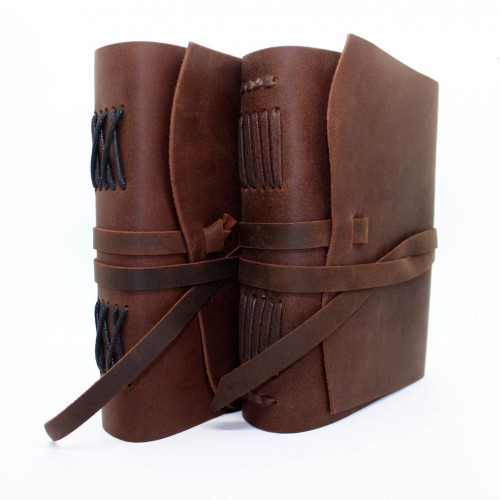 Кожаный блокнот-софтбук A5 Comfy Strap Brown с ручкой-3
