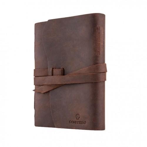 Кожаный блокнот-софтбук mini Comfy Strap Brown с ручкой-3