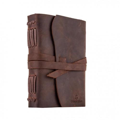 Кожаный блокнот-софтбук mini Comfy Strap Brown с ручкой-6
