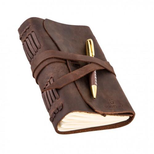Кожаный блокнот формата B6 Comfy Strap Brown с ручкой в коробке-1