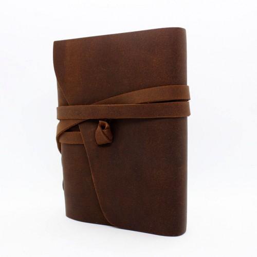 Кожаный блокнот-софтбук mini Comfy Strap Brown-8
