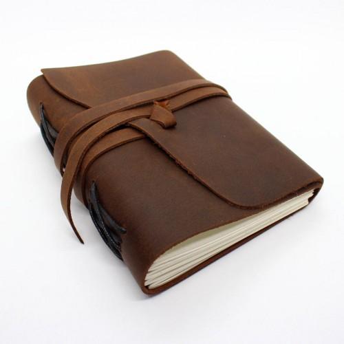 Кожаный блокнот-софтбук mini Comfy Strap Brown-3