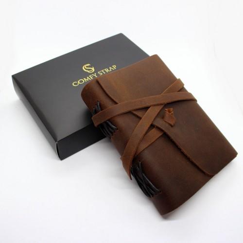 Кожаный блокнот-софтбук mini Comfy Strap Brown-7