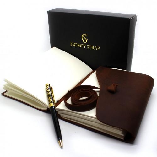 Кожаный блокнот-софтбук mini Comfy Strap Brown-9