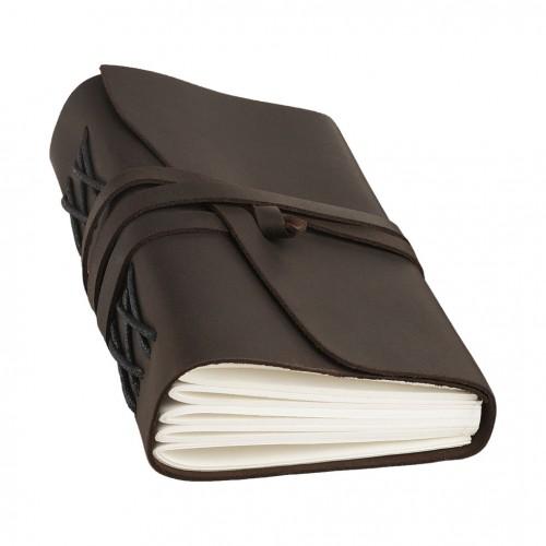 Кожаный блокнот-софтбук mini Comfy Strap Dark Brown с ручкой-7