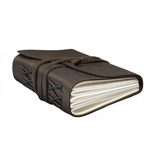 Кожаный блокнот-софтбук mini Comfy Strap Dark Brown с ручкой-2