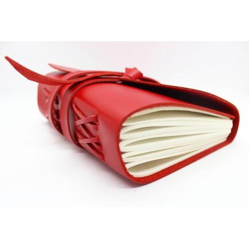 Кожаный блокнот формата A5 Comfy Strap Red в коробочке-5