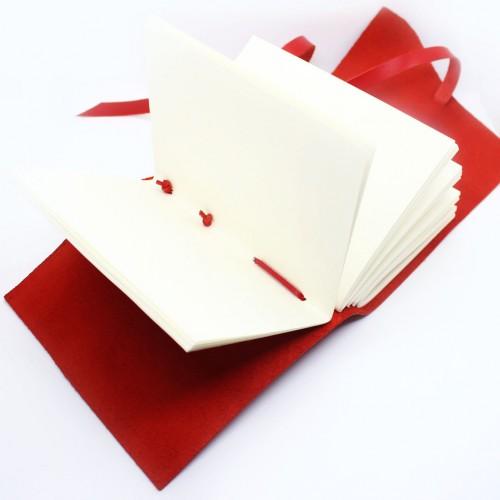 Кожаный блокнот формата B6 Comfy Strap Red-2