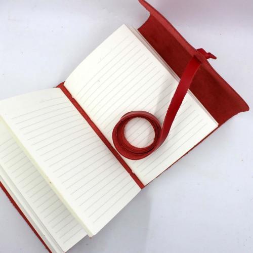 Кожаный блокнот формата B6 Comfy Strap Red-8