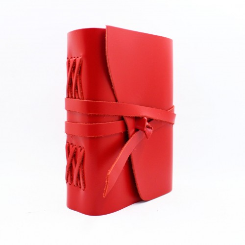 Кожаный блокнот формата B6 Comfy Strap Red-1