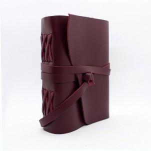Кожаный блокнот формата B6 Comfy Strap Bordo-1