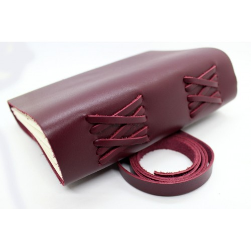 Кожаный блокнот формата B6 Comfy Strap Bordo-4