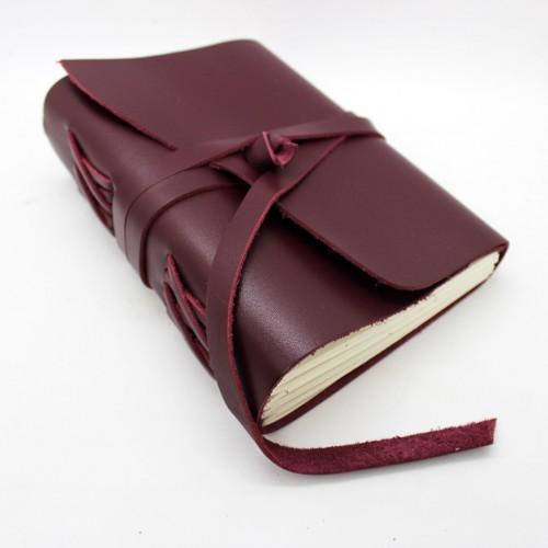 Кожаный блокнот формата B6 Comfy Strap Bordo-5