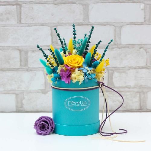 """Букет """"Аквамарин"""" - живые стабилизированные цветы в круглой коробке-1"""