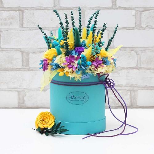 """Букет """"Аквамарин"""" - живые стабилизированные цветы в круглой коробке-2"""