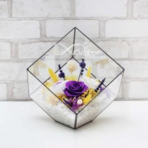 Флорариум «Экзотический коктейль» с живыми стабилизированными цветами-1