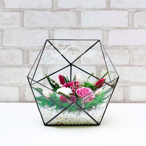 Флорариум с живыми стабилизированными цветами «Цветочная грация»