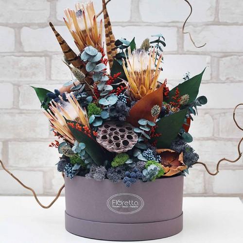 """Букет """"Элегантная гармония"""" - живые стабилизированные цветы в круглой коробке-1"""