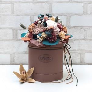 """Букет """"Гармония"""" - живые стабилизированные цветы в круглой коробке-1"""