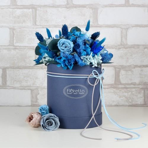 """Букет """"К высоким достижениям"""" - живые стабилизированные цветы в круглой коробке-1"""