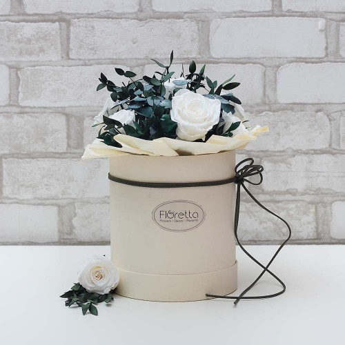 """Букет """"Магия нежности"""" - живые стабилизированные цветы в круглой коробке-2"""