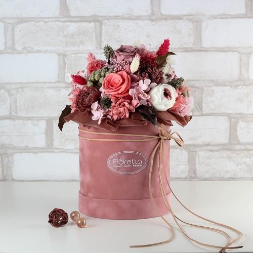 """Букет """"Незабываемое впечатление"""" - живые стабилизированные цветы в круглой коробке-1"""