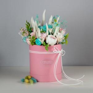 """Букет """"Нежность"""" - живые стабилизированные цветы в круглой коробке-1"""