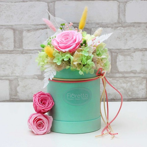 """Букет """"Нежный поцелуй"""" - живые стабилизированные цветы в круглой коробке-1"""