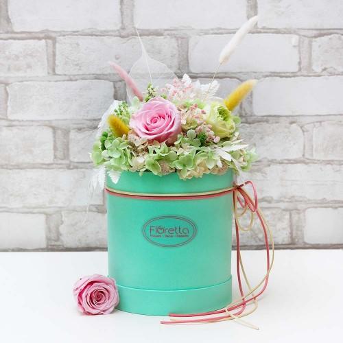 """Букет """"Нежный поцелуй"""" - живые стабилизированные цветы в круглой коробке-2"""