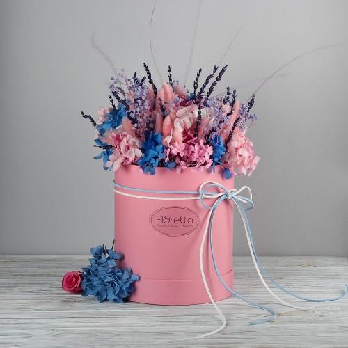 """Букет """"Очарование Прованса"""" - живые стабилизированные цветы в круглой коробке-1"""