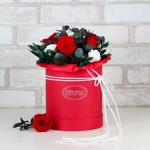 """Букет """"Праздничное настроение"""" - живые стабилизированные цветы в круглой коробке-1"""