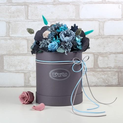 """Букет """"Стабильность"""" - живые стабилизированные цветы в круглой коробке-1"""