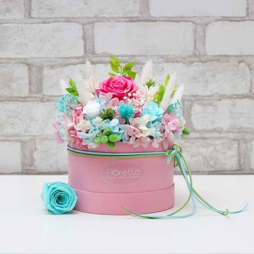 """Букет """"Цветочные фантазии"""" - живые стабилизированные цветы в круглой коробке-1"""
