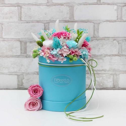 """Букет """"Цветочные фантазии"""" - живые стабилизированные цветы в круглой коробке-2"""