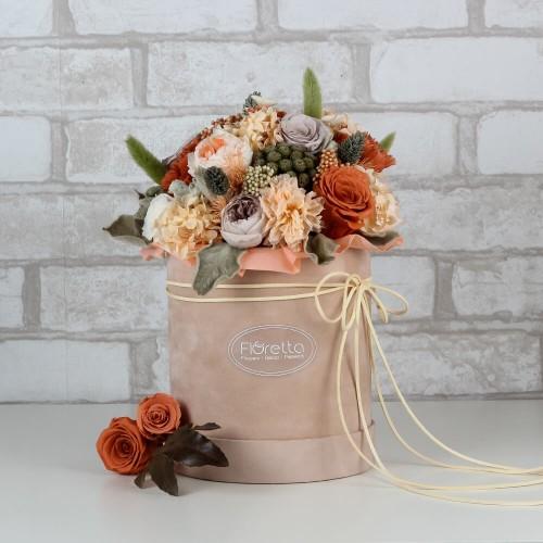 """Букет """"Удивительное рядом"""" - живые стабилизированные цветы в круглой коробке-1"""