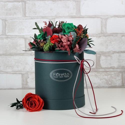"""Букет """"Успех"""" - живые стабилизированные цветы в круглой коробке-1"""