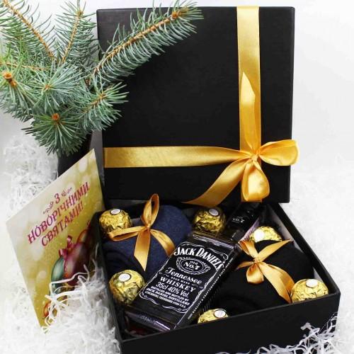Набір подарунковий для чоловіків з віскі J.Daniels та шкарпетками Duet ►FRANKLIN-2