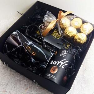 Набір подарунковий з кавою, горіхами та чашкою ►Black Сharm від FRANKLIN (картонна коробка)-1