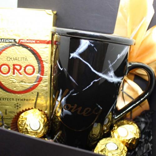 Набір подарунковий з кавою, горіхами та чашкою Honey (картонна коробка) ►FRANKLIN-4