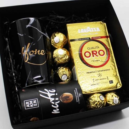 Набір подарунковий з кавою, горіхами та чашкою Honey (картонна коробка) ►FRANKLIN-7