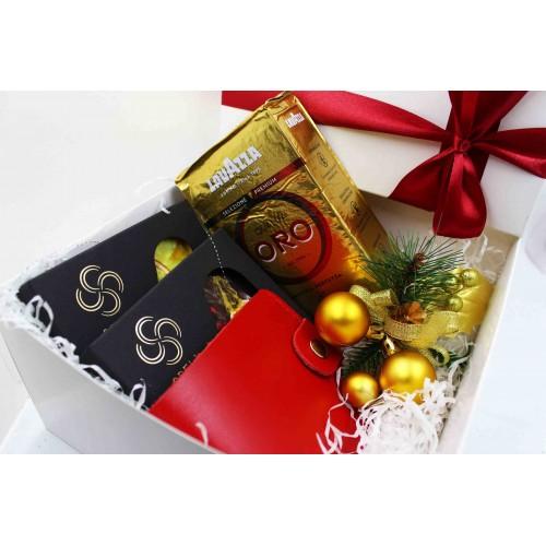 Жіночий подарунковий набір з шкіряним гаманцем ►Oro-3
