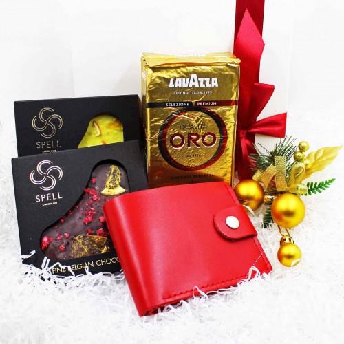 Жіночий подарунковий набір з шкіряним гаманцем ►Oro-1