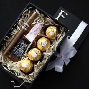 Подарочный набор для мужчин с минибутылочкой виски и сигарой Happy Moment ►Franklin-1