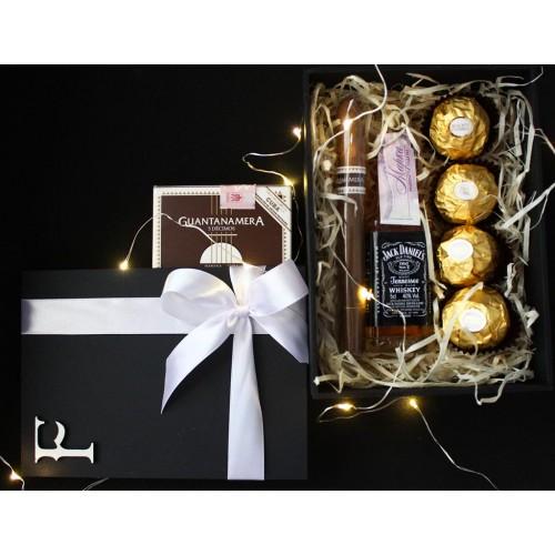 Подарочный набор для мужчин с минибутылочкой виски и сигарой Happy Moment ►Franklin-2