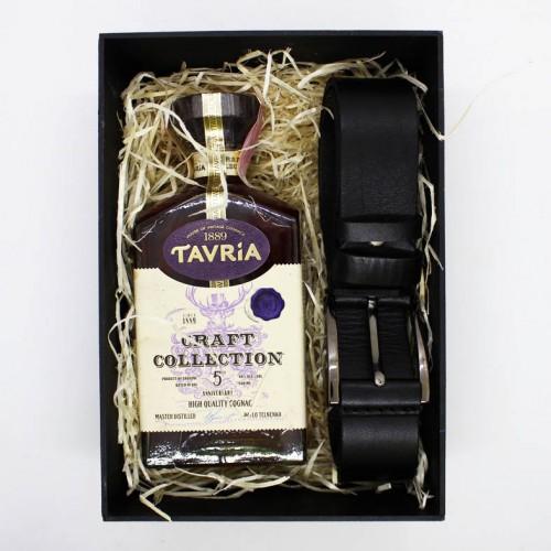 Подарочный набор для мужчин с коньяком, кожаным ремнем и шоколадом Macho ▶FRANKLIN-3
