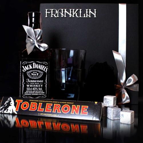 Дыловий подарунковий набір для чоловіків з віскі Jack Daniel's та стильними склянками Men's party ►FRANKLIN-2